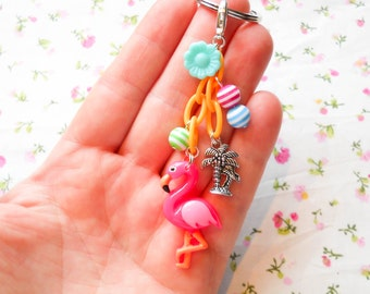 Flamingo Keychain, Kawaii Keychain, Flamingo Key Chain, Tropical, Cute Keychain, Key Chain, Clip Charm, Kawaii Charm, Flamingo, Palm Tree
