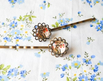 Flower Hair Pins, Flower Bobby Pins, Glass Cabochon Hair Pins, Cabochon Bobby Pins, Floral Hair Pins, Floral Bobby Pins, Antique Bronze
