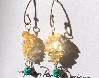 Citrine and turquoise earrings