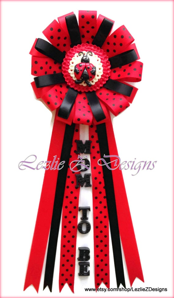 lady bug theme baby shower corsage pin keepsake mom to be ladybug cold porcelain favor