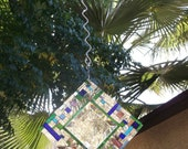 Sun Catcher Blue, Green, Lavender, Mirror Suncatcher, Abstract Mirror Mosaic Flashing Suncatcher - shipping included