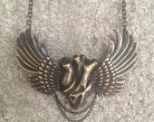 SUFI HEART WING - Anatomical Heart Taking Flight - Solid Brass - Antique Patina - Super Detailed - Human Heart Pendant - Designer Jan Hilmer