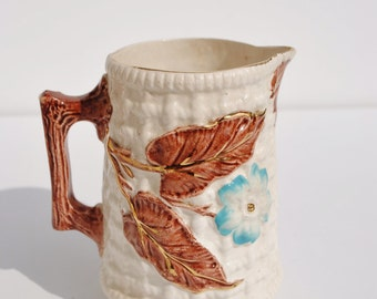 Antique Majolica Pitcher, Majolica, Pitcher, Creamer, Ivory, Floral, Pink, Blue, Chocolate