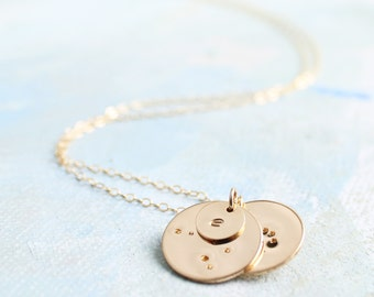 Multiple Zodiac Constellation Necklace with Initial Charms, Gold Mothers Necklace, Personalized mothers necklace, new mother gift