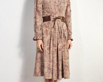 Albert Nipon 1980s Paisley Pleated Dress // sz M