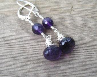 Sterling Silver Amethyst Earrings,  February Birthstone, Purple Gemstone Dangle Earrings, Wire Wrapped, Amethyst Jewelry