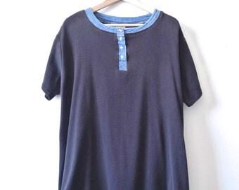 vintage BLACK DENIM henley t-shirt