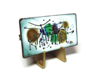 """50s Artisan Hand Painted Enamel Copper Brooch, Colorful Abstract Motif 2.25"""" X 1.25"""" - Vintage 50's Enameled Costume Jewelry"""