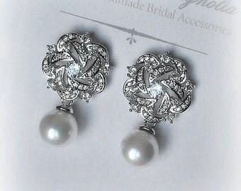 Crystal and Swarovski Pearl Earrings, Bridal Earrings, Bridal Jewelry, Wedding Jewellery, Bridesmaid Earrings - LINDSEY