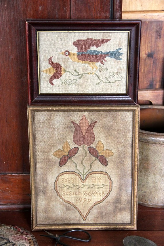 Fraktur Bird and Wedding Heart