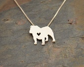 English Bulldog necklace, tiny sterling silver hand cut pendant with heart, tiny dog breed jewelry