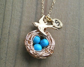 Bird Nest Necklace, Personalized Initial Necklace, Gold Nest Blue Eggs, Turquoise Eggs Nest, Gold Bird Necklace, Gift, Gold Filled