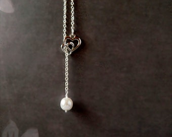 White Pearl Necklace Single Drop Czech Glass Pearl Pendant Silver Heart Pendant Lariat Necklace Silver Necklace Bridal Bridesmaid Gift