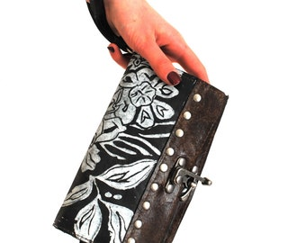 """Small printed wildflower espresso clutch phone wallet """" The Berlin"""""""