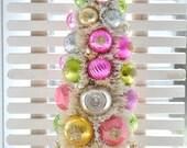 Pink and Gold Valentine Bottle Brush Tree Chic glittery Christmas Easter vintage glass garland Ornaments gold teacup shabby bottlebrush