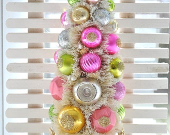 Pink and Gold Valentine Bottle Brush Tree Chic glittery Christmas Easter vintage glass garland Ornaments gold teacup shabby bottlebrush