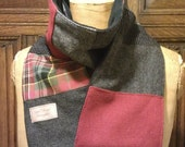 tweed and tartan wool scarf in greys and reds