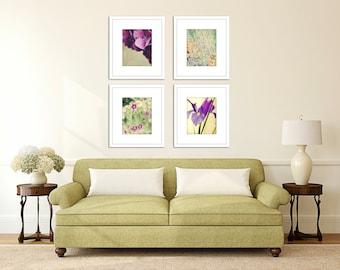 floral wall art purple bedroom artwork picture set of four wall decor flower photography botanical prints home decor 8x10 print set