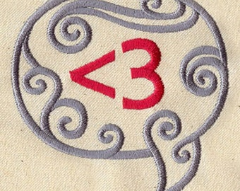 Digital Love Embroidered Cotton Kitchen Towel, Geeky Love