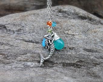 Mermaid Necklace - Mermaid Jewelry from Hawaii - Ocean Jewelry made in Hawaii - Mermaid Charm Pendant - North Shore Oahu Hawaii Jewelry