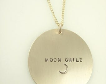 Large Coin Necklace - Personalized Necklace - Engraved Jewelry - Handstamped Disc