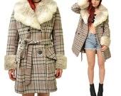 Plaid Faux Fur 70's Princess Coat // M