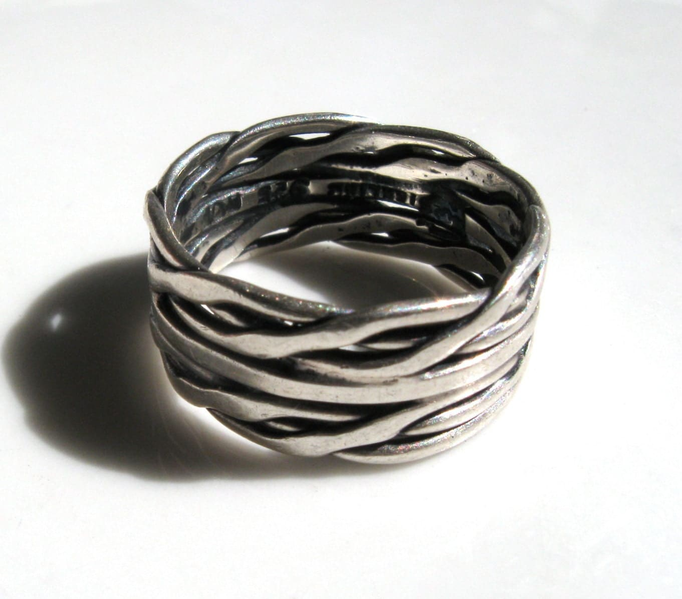 vintage woven braided sterling silver ring by