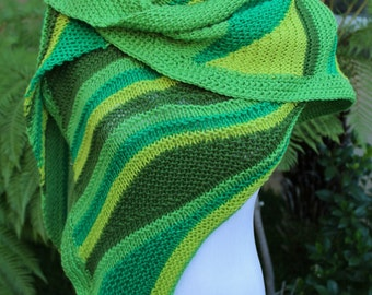 Over 50 Percent Off Sale Shamrock Greens Asymmetrical Color Waves Pure Merino Wool Shawl or Shawlette