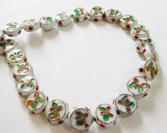 Cloisonne Beads - White Coin Floral Cloisonne - Flat Spacer Round Beads - Enamel Vintage - Oriental - Bulk DIY Jewelry Making - 11mm - 9 Pcs