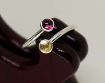 Citrine & Garnet Ring // Sterling Silver // Duality // Open Ended // Stacker Ring // Stacking Ring // Gemstone Ring