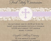 Burlap and Lace Baptism/Communion/Confirmation Invite -  DIY Digital, Printable Party INVITATION - 4x6 or 5x7