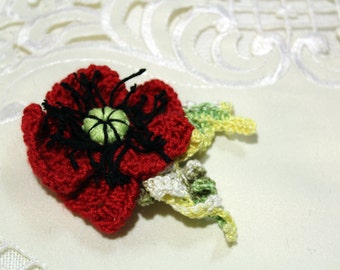 Crochet  Red Poppy Flower, Crochet Poppy Flower Brooch, Crochet Flower Accessory, Crochet Red Flower Clothes Brooch, Womens Accsessory