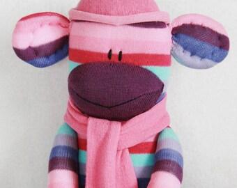 Stuffed Toys, Sock Monkey Doll Purple, Pink and Aqua Stripes, Stuffed Animal, Kids