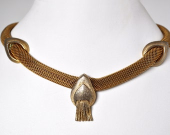 Vintage 40s Gold Mesh Coro Choker Necklace
