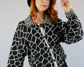Womens Cardigan Sweater. Black and White Graphic Print  Fall Spring Sweater. FREE SHIPPING