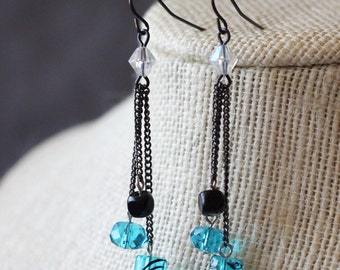 Fun and Fancy Teal and Black Chain Dangle Earrings