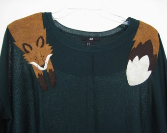 Wrapped Fox Knit Long sleeve in Forest Green