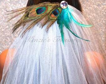 Peacock Feather Bachelorette Party Veil - Comb or Barrette