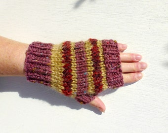 Striped Fingerless Gloves, Hand Knitted Womens Gloves, Chunky Knit Short Gloves, Winter Fashion, Autumn Fall  - Camel, Red, Aubergine Purple