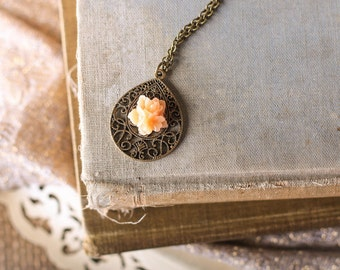 Filigree Drop Necklace, Peach Flower, Morrocan Necklace, Shabby Chic Necklace, Long Necklace
