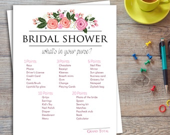 It is an image of Transformative What's in Your Purse Bridal Shower Game Free Printable
