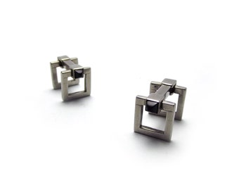 Vintage Square Cufflinks - Mad Men - Vintage Cuff Links - Black Silver - Jet Black - Onyx - Mid Century