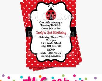Ladybug Invitation - Ladybug Birthday Party Invitation - Ladybug Printable Invitation - Ladybug Invite - Ladybug First Birthday - Polka Dot