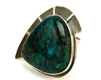 Chrysocolla Ring, Boho Ring, Sterling Silver Ring, Ring for Women, Gemstone Ring, Large Ring, Unique Silver Ring, Gemstone Jewelry