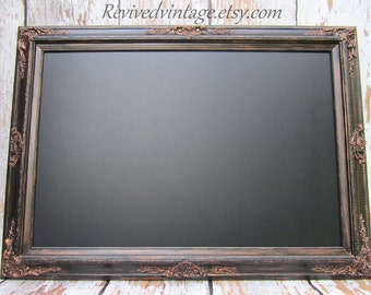 """LARGE MAGNETIC CHALKBOARD For Sale Old World Furniture 44""""x32"""" ExTRA LaRGE Rustic Black Black board Home Office Baroque Chalkboard Gothic"""