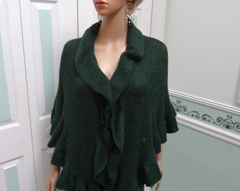 PRINCESS KATE MIDDLETON  style shawl, Dark Green heather wool blend, hand knitted with  three sided ruffles.