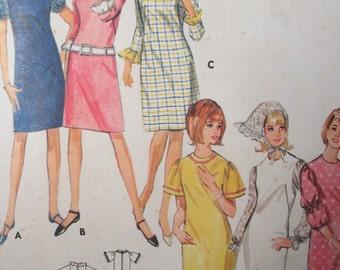 Butterick 4099 Vintage 1960's A-Line Dress Pattern - Shift Dress Pattern- Matching Kerchief -size 11 Junior -Bust 31 1/2 -Small