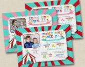 Circus or Country Fair Come One, Come All Custom Dual Birthday Party Invitation Design - printable any age