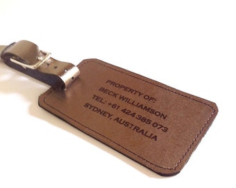 Leather Luggage Tag Gold / Pewter Leather Custom Luggage Tag Property Of: Your Name (front) Travel Quote (back) Father's Day Boyfriend Gift