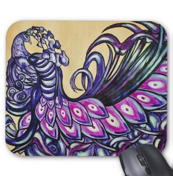 Mousepad Mouse Pad Fine Art Painting Sleeping Purple Peacock Violet Lavender Peacocks Feather Feathers Surreal Contemporary Amber Lamoreaux